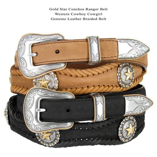 "Golden Star Conchos Crazy Horse Scalloped Genuine Leather Western Belt 1""(25mm) Wide"
