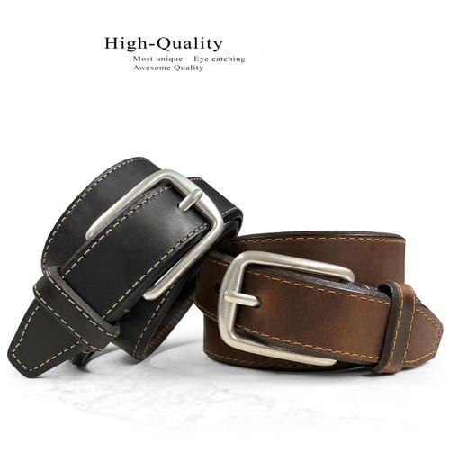"Lejon Made in USA Belt Antique Buckle Genuine Full Leather Casual Dress Belt 1-1/4""(32mm) Wide"