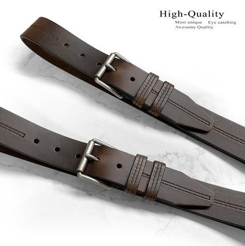 "Lejon Made in USA Belt Antique Roller Buckle Genuine Full Leather Casual Belt 1-1/2""(38mm) Wide"