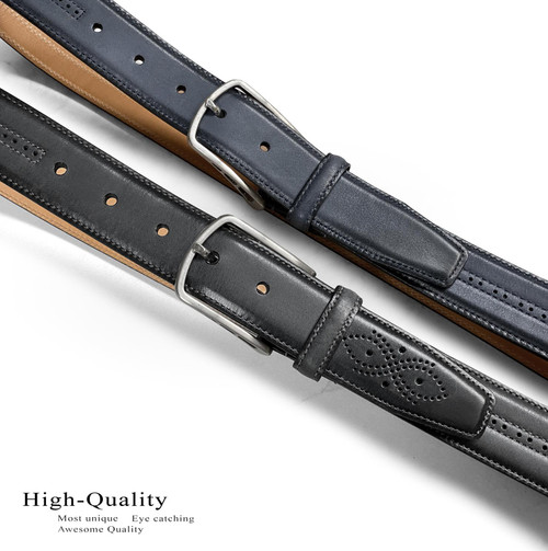 "Lejon Made in USA Belt Antique Buckle Genuine Leather Casual Dress Belt 1-3/8""(35mm) Wide"
