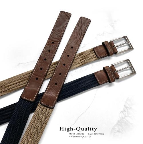 "Lejon Made in USA Belt Fabric Braid Leather Casual Dress Belt 1-1/4""(32mm) Wide Big and Tall Belt"