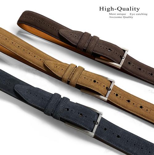 "Lejon Made in USA Belt Genuine Suede Leather Casual Dress Belt 1-3/8""(35mm) Wide"