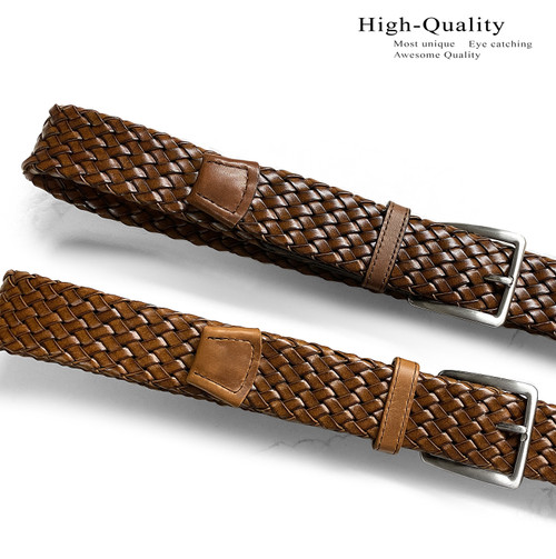 """Lejon Made in USA Belt Genuine Leather Braided Woven Casual Belt 1-1/2""""(38mm) Wide"""