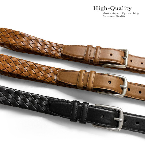 """Lejon Made in USA Belt Antique Buckle Genuine Leather Braided Woven Casual Belt 1-3/8""""(35mm) Wide"""