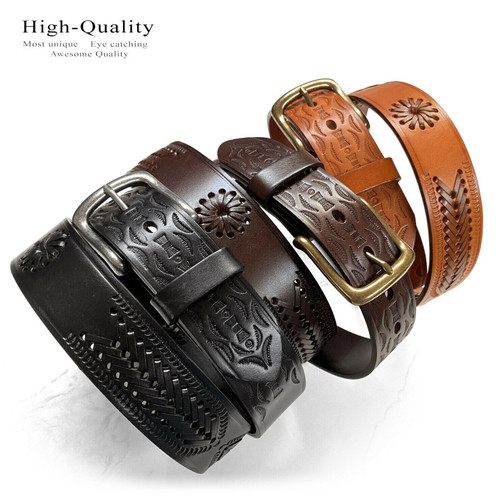 "2287 Western Hand-Woven Braided Basketweave Genuine Full Grain Leather Casual Jean Belt 1-1/2""(38mm) Wide"
