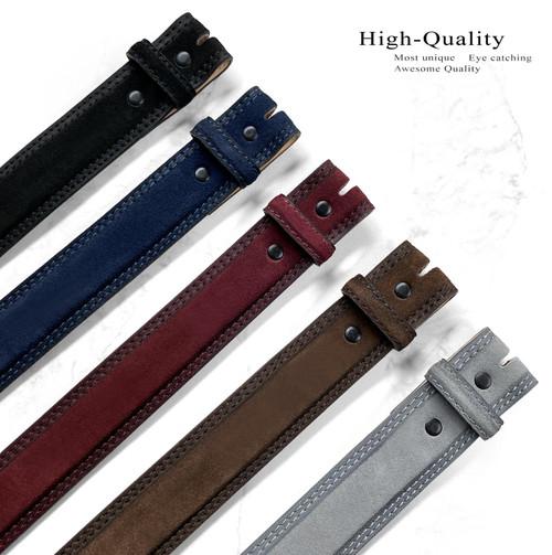 "351000 Casual Dress Belt Strap Genuine Suede Leather Belt Strap 1-3/8""(35mm) Wide"