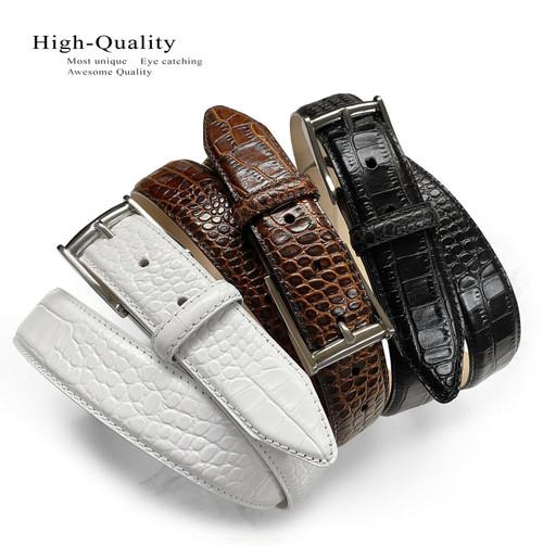 "Men's Dress Belt Classic Buckle Italian Calfskin Genuine Leather Casual Belt 1-1/8""(30mm) Wide"