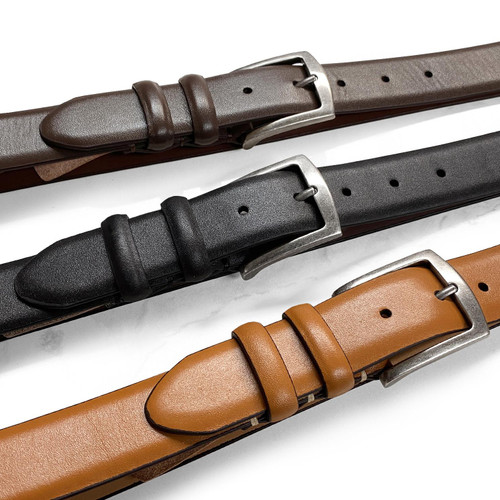 """Will Leather Goods Men's Belt Smooth Genuine Leather Casual Dress Belt 1-3/8""""(35mm) Wide"""