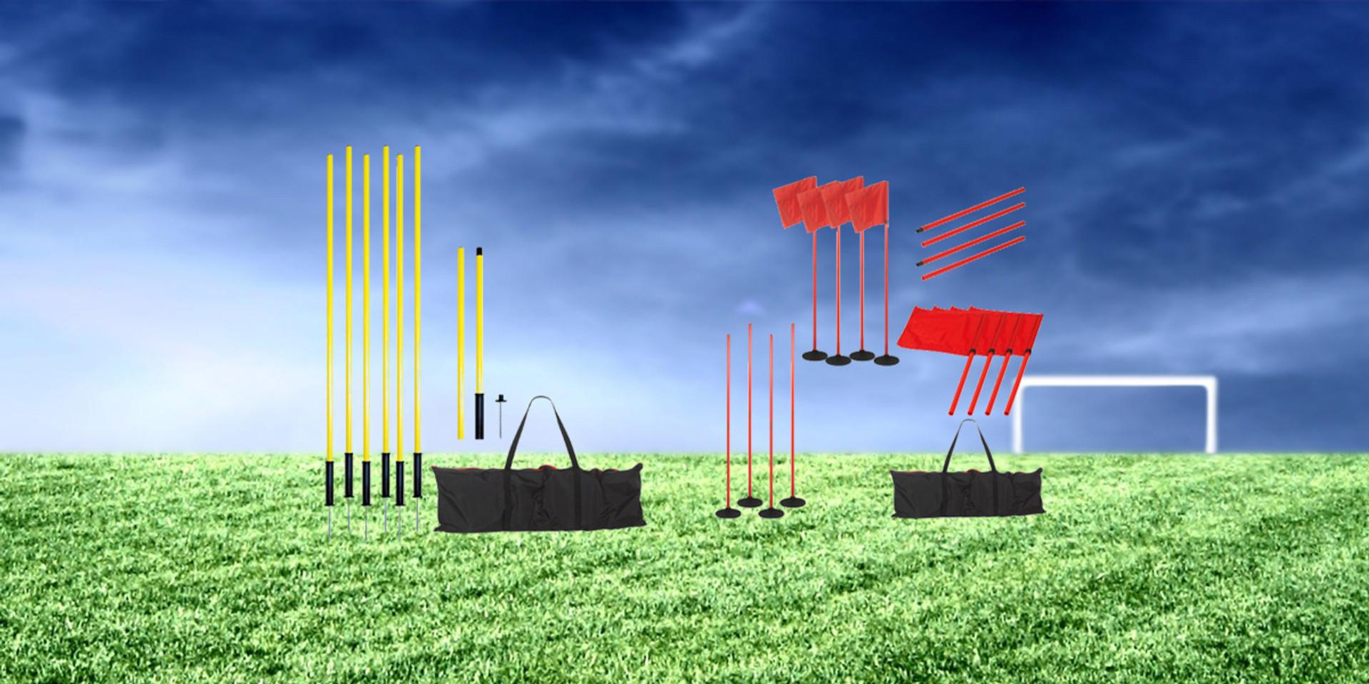 Training poles on field