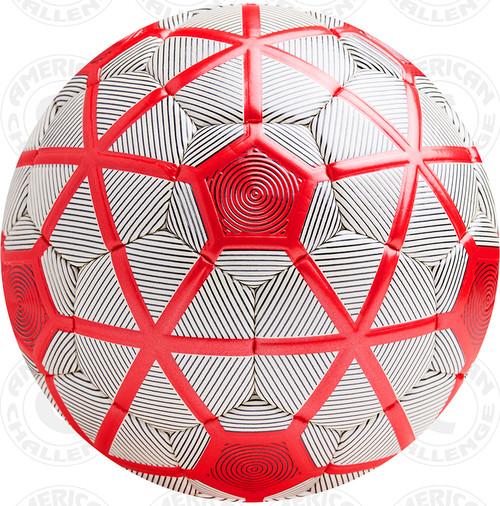 Turin soccer Ball, White/Black-Red