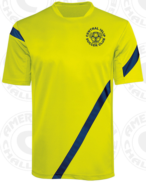 CENTRAL ISLIP SSI TRAVEL JERSEY, SHOCK YELLOW/NAVY