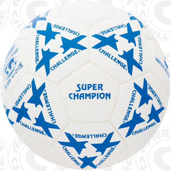 Super Champion Soccer Ball, White/Blue, 32 Panel, Hand Sewn