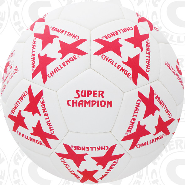 Super Champion Soccer Ball, White/Red, 32 Panel, Hand Sewn