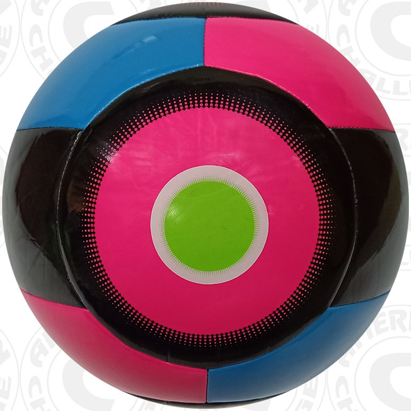 Nevel Soccer Ball, Raspberry/Aqua-Black
