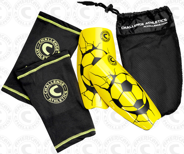 Serie A shin guard, yellow, complete set