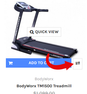 Compare arrows appear when you scroll over each product