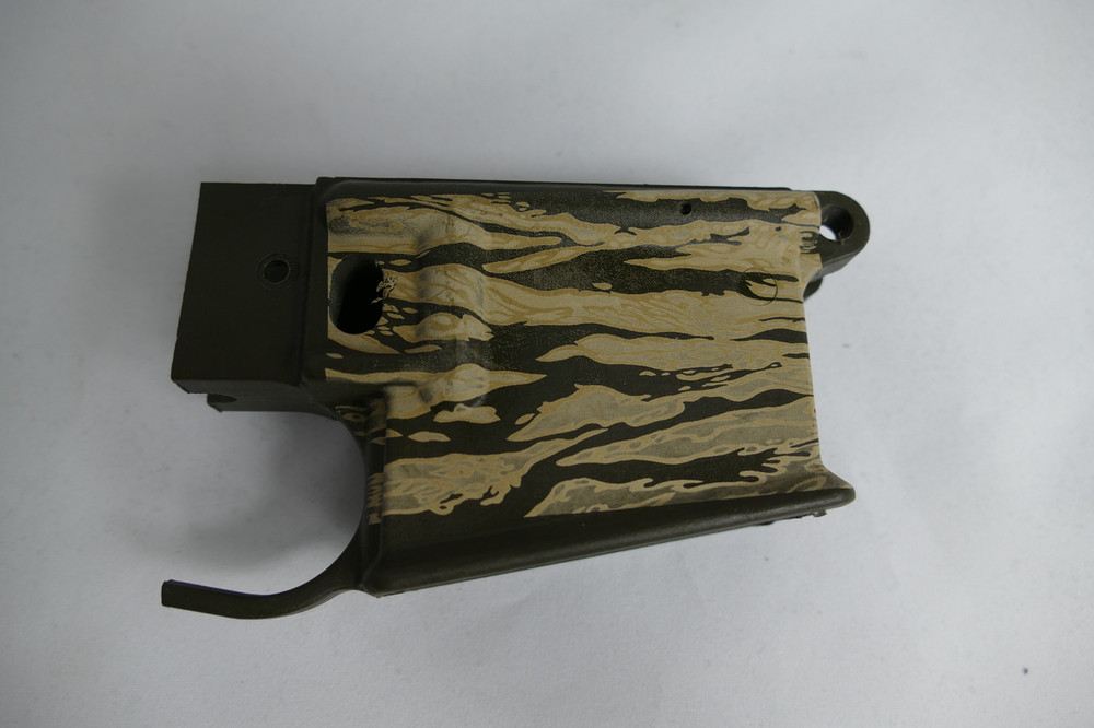 Tiger Stripe Finish on Rifle Green Lower