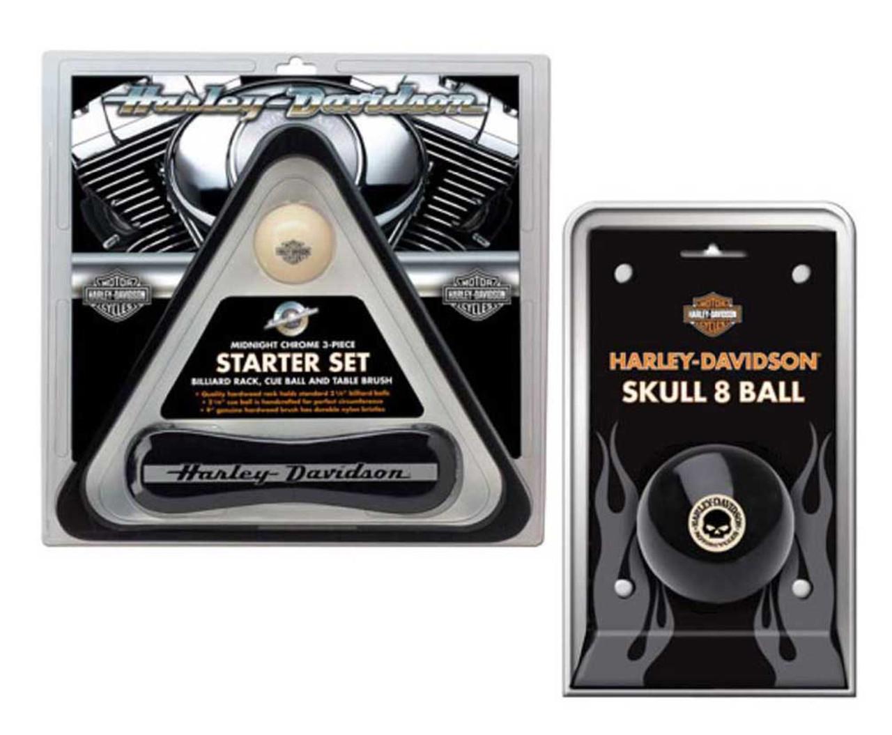Harley-Davidson Wood Rack Brush /& Eagle Cue 3-Piece Billiards Set HDL-11148