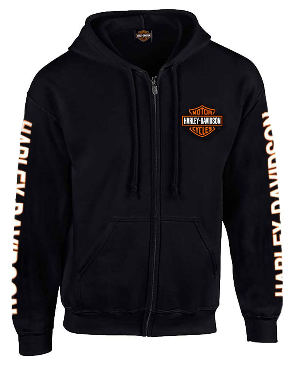 Bar /& Shield Zip Black Hoodie 30299142 Harley-Davidson Mens Hooded Sweatshirt