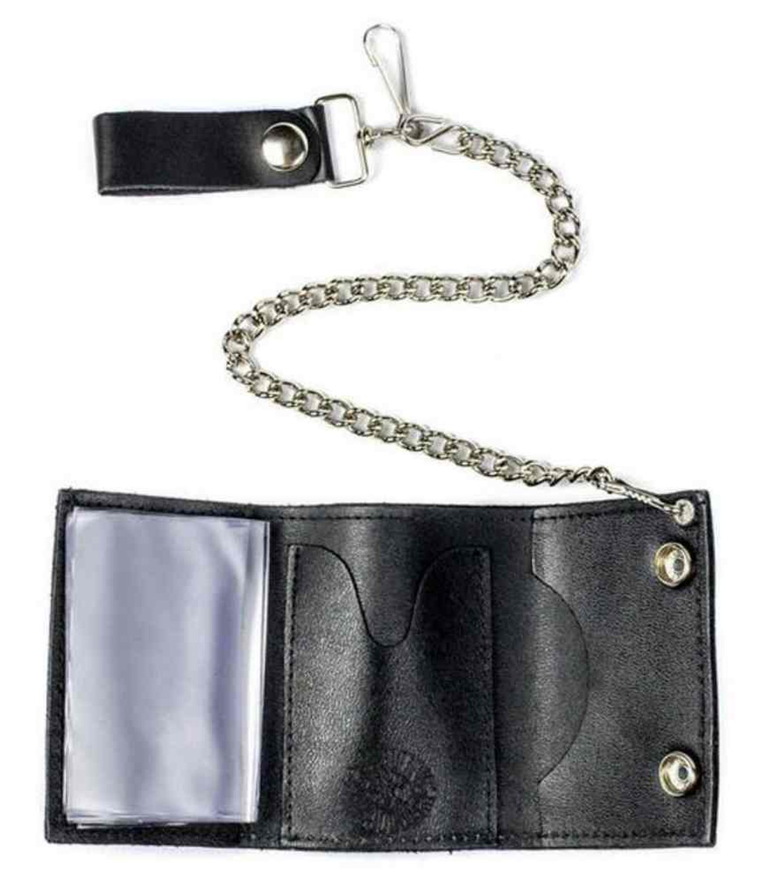 New Flames Leather Trifold Chain Wallet Made in the USA