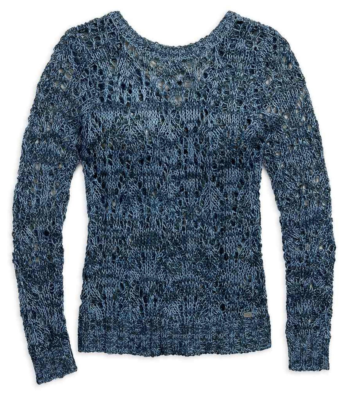 Harley-Davidson Women/'s Crossback Open Knit Long Sleeve Sweater Blue 96082-17VW
