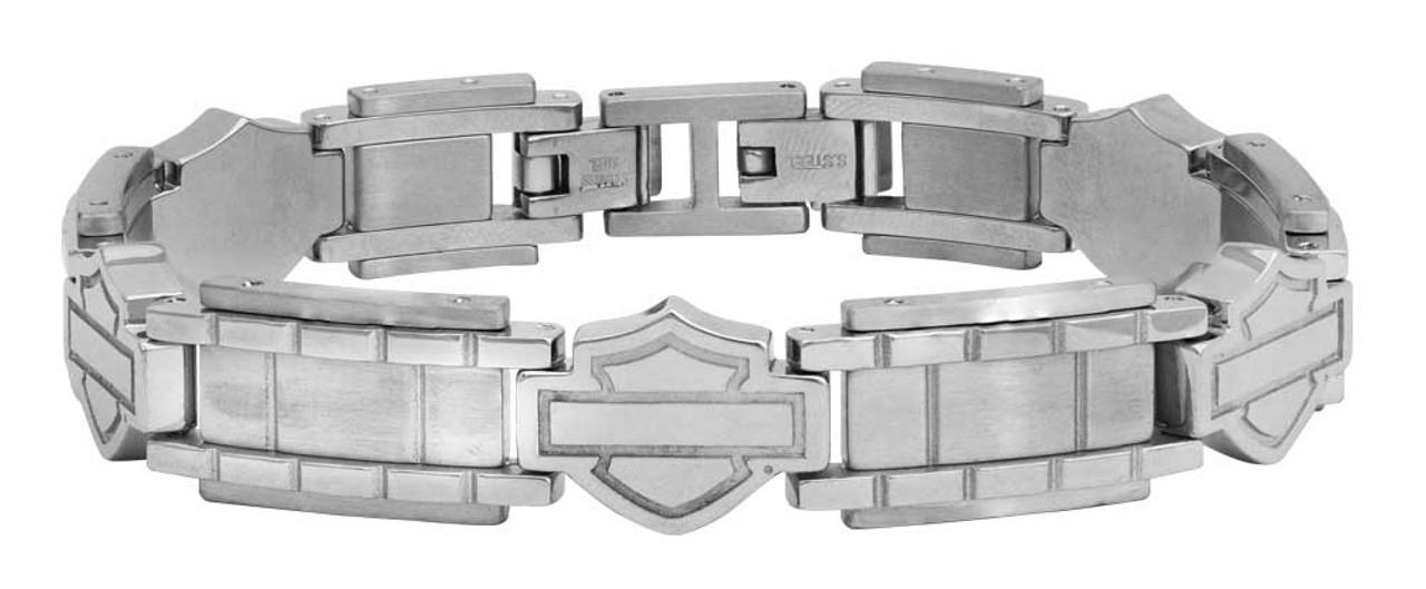 Harley-Davidson Men/'s Bar /& Shield Stainless Steel Chain Bracelet HSB0015