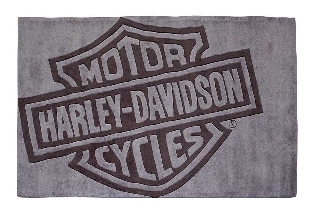 Harley Davidson Bar Shield Large Area Rug Deep Gray Acrylic Hdl 19502