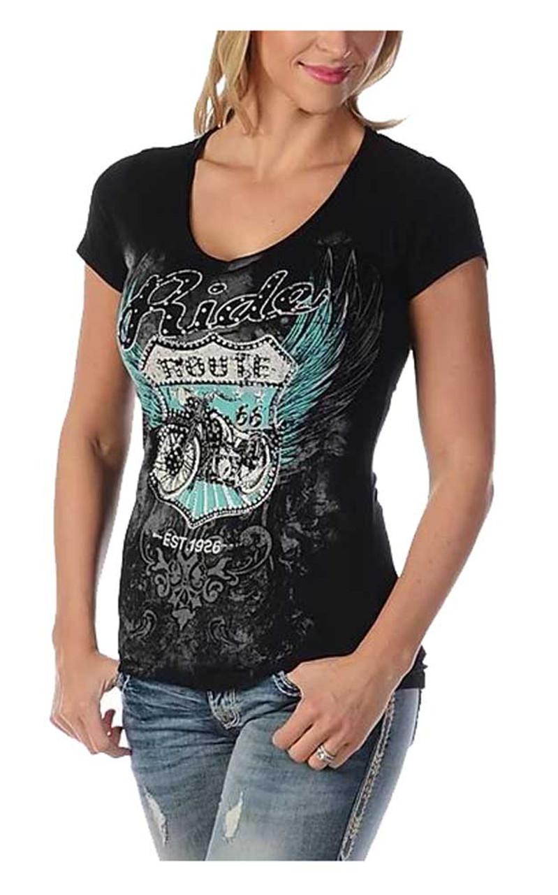 Black Liberty Wear Women/'s Bikin/' Route 66 Embellished Short Sleeve V-Neck Tee