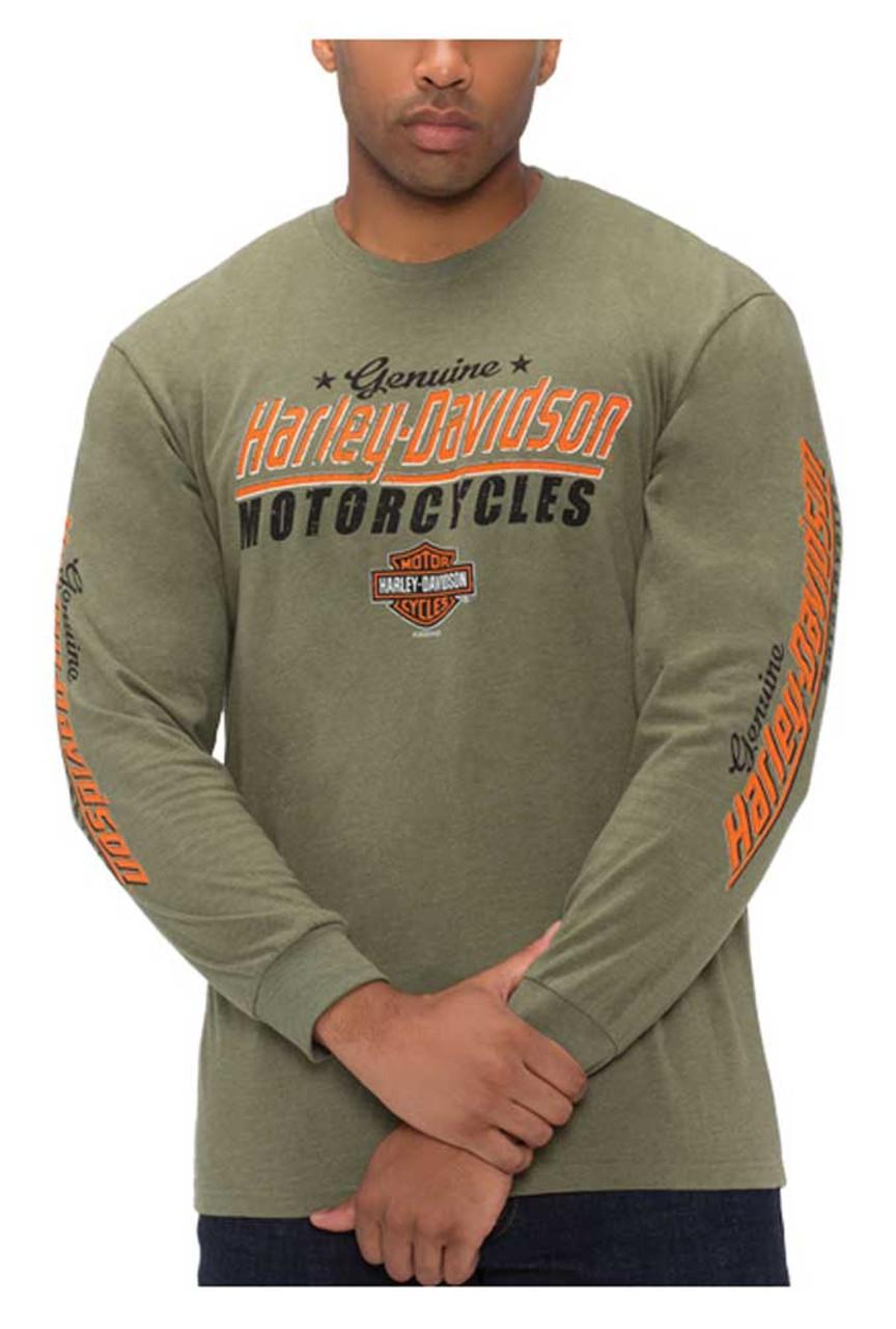 Harley-Davidson Men/'s Genuine H-D Long Sleeve Crew-Neck Poly-Blend T-Shirt