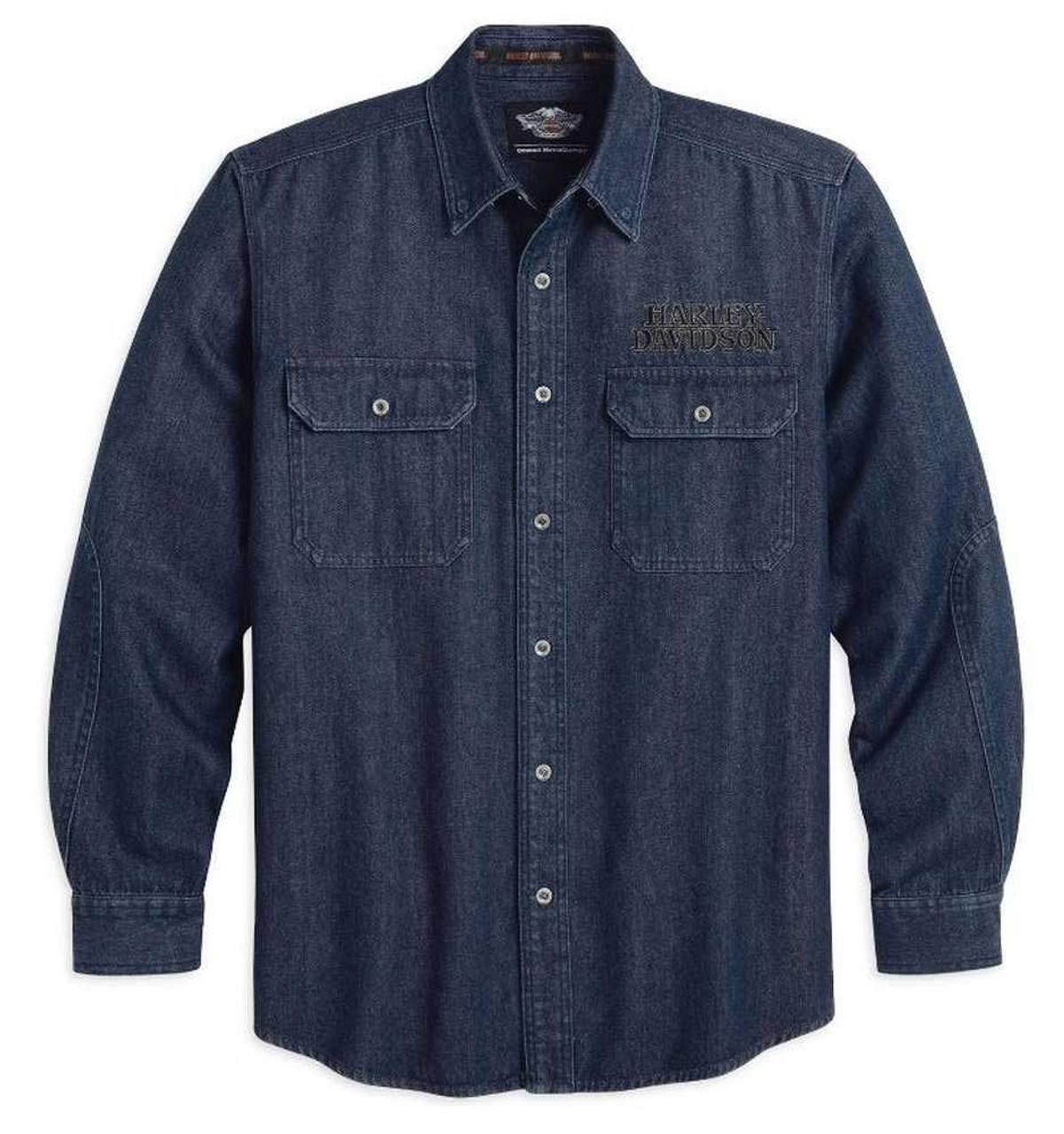 Harley Davidson BLUE Denim SNAP  Button  Shirt Collar Snaps Pockets Mens Sz XL
