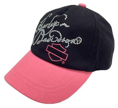 Harley-Davidson Little Girls' Studded HD Script Baseball Cap, Pink/Black 0130102 - Wisconsin Harley-Davidson