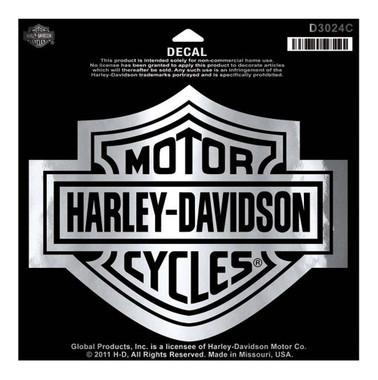 Harley-Davidson Bar & Shield Chrome Large Decal, Large Size Sticker D3024C - Wisconsin Harley-Davidson