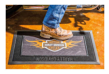 Harley-Davidson Entry Floor Mat, Flame Bar & Shield Kitted Set, Black P14004901 - Wisconsin Harley-Davidson