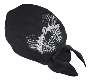 Harley-Davidson Women's Rhinestone Wing Skull Cap Headwrap, Black 99419-12VW - Wisconsin Harley-Davidson