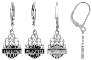 Harley-Davidson Women's Bar & Shield Dangle Earrings Silver Filigree HDE0258 - Wisconsin Harley-Davidson