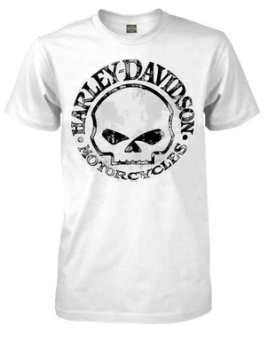 Harley-Davidson Men's T-Shirt, Willie G Skull Short Sleeve Tee, White 30296643 - Wisconsin Harley-Davidson