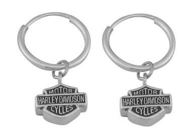 Harley-Davidson Women's Bar & Shield Hoop Dangle Earrings HDE0137 - Wisconsin Harley-Davidson