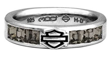 Harley-Davidson Women's Ring, Black Ice Crystals Bar & Shield Band HDR0360 - Wisconsin Harley-Davidson