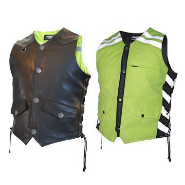 Missing Link Men's G2 D.O.C. Reversible Leather Safety Vest Hi-Vis Green. G2RVMG - Wisconsin Harley-Davidson