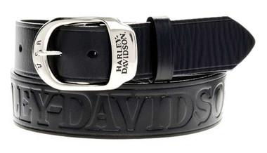 Harley-Davidson Men's Slide Over Belt Black Leather HDMBT10588 - Wisconsin Harley-Davidson