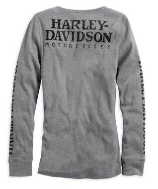 Harley-Davidson Womens L/S Skull Snap Front Henley Tee, Heather Grey 99143-14VW - Wisconsin Harley-Davidson