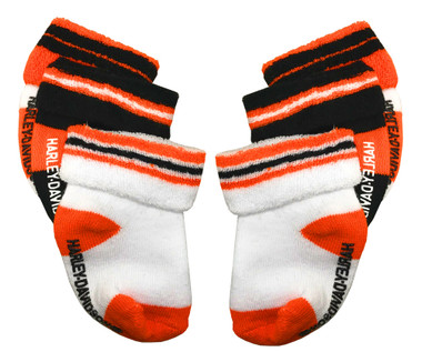 Harley-Davidson Baby Boys' Socks, Three Pack, Orange/Black/White S9ABI63HD - Wisconsin Harley-Davidson