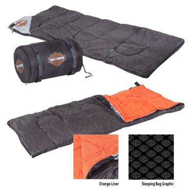 Harley-Davidson Bar & Shield Custom Sleeping Bag, Black & Orange HDL-10016 - Wisconsin Harley-Davidson