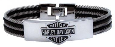 Harley-Davidson Men's Bar & Shield Logo Steel Cable ID Bracelet, HSB0068 - Wisconsin Harley-Davidson