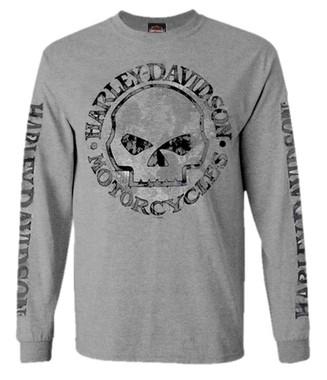 Harley-Davidson Men's Shirt, Willie G Skull Long Sleeve Tee, Gray 30296651 - Wisconsin Harley-Davidson