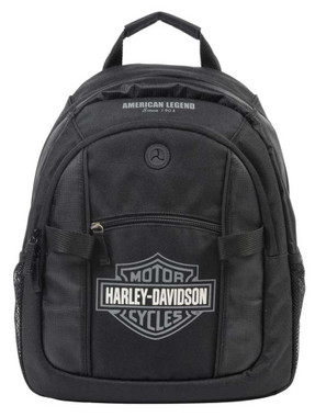 Harley-Davidson Bar & Shield Day Backpack, Gray Logo, Black BP1968S-GRYBLK - Wisconsin Harley-Davidson