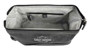 Harley-Davidson Bar & Shield Distressed Leather Toiletry Kit, Gray 99609-GRY - Wisconsin Harley-Davidson