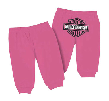 Harley-Davidson Baby Girls' Interlock Glitter Bar & Shield Pants, Pink 4000603 - Wisconsin Harley-Davidson
