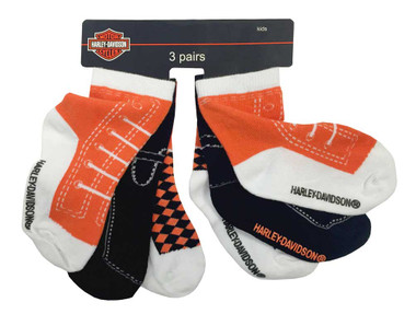 Harley-Davidson Little Boys' Knitted-In Shoe Socks, 3 Pairs, Orange 7070490 - Wisconsin Harley-Davidson