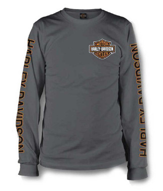 Harley-Davidson Men's Long Sleeve Orange Bar & Shield Grey Shirt 30291963 - Wisconsin Harley-Davidson
